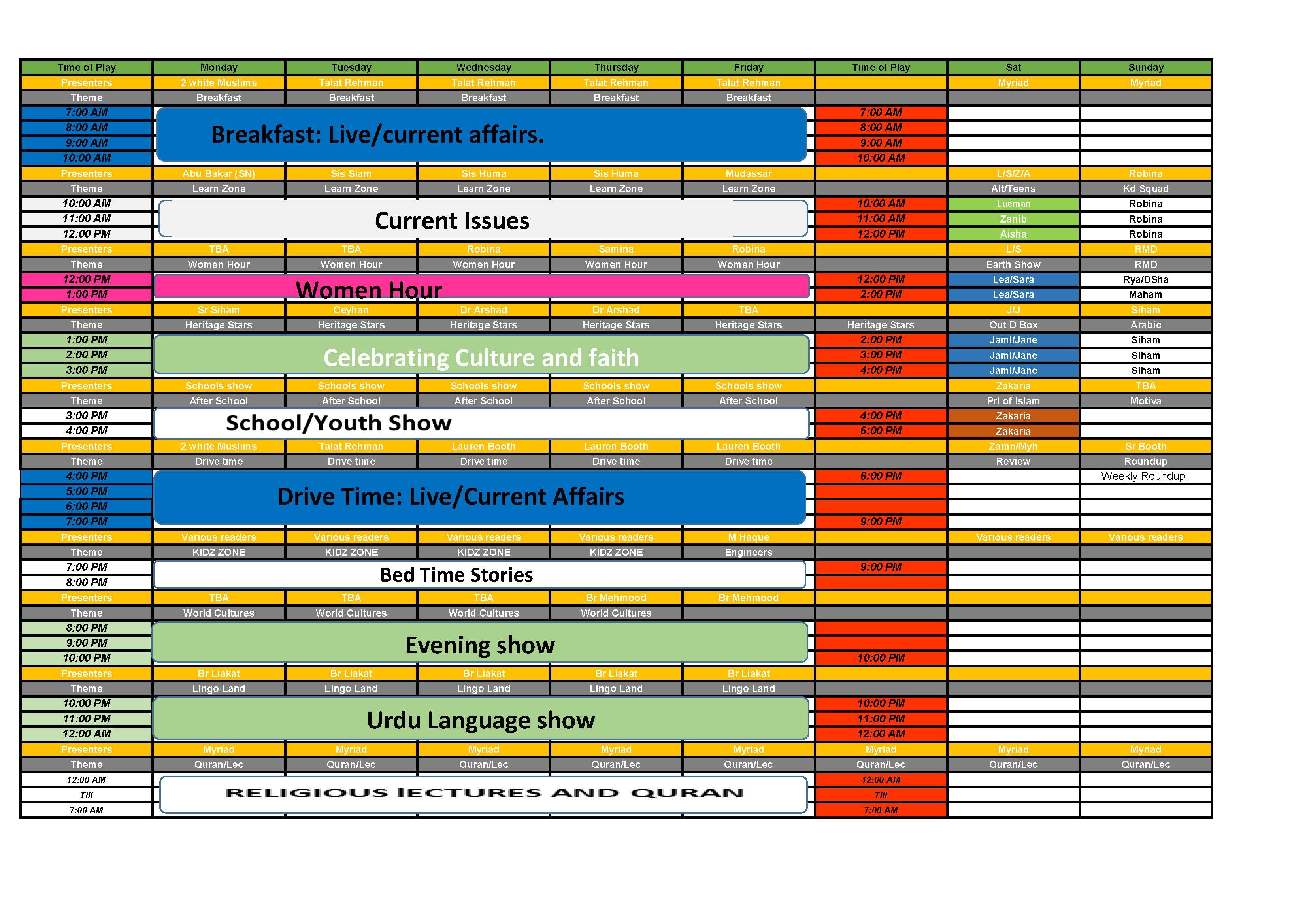 Heritage Radio Schedule-